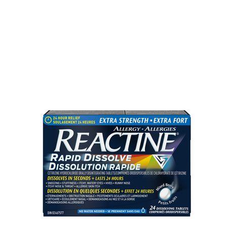Reactine Rapid Dissolve Extra Strength Antihistamine 10mg, 24 Hour Relief, Allergy Medicine, 24 count - image 1 of 6