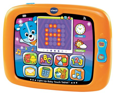 Orange tablet for babies and toddlers made by VTech with colourful alphabet game being displayed