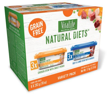 VitaLife Natural Diets Dog Food Variety Pack, Chicken Stew with Sweet Potato - Beef And Lamb Stew with Carrots - image 1 of 1