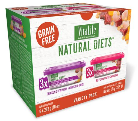 VitaLife Natural Diets Dog Food Variety Pack, Chicken Stew with Pumpkin & Duck - Beef Stew with Chickpeas - image 1 of 1