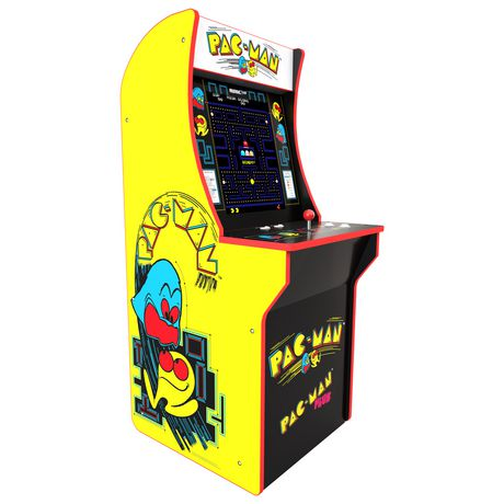 Yellow and black arcade video game machine with Pac-Man motif, made by Arcade 1Up