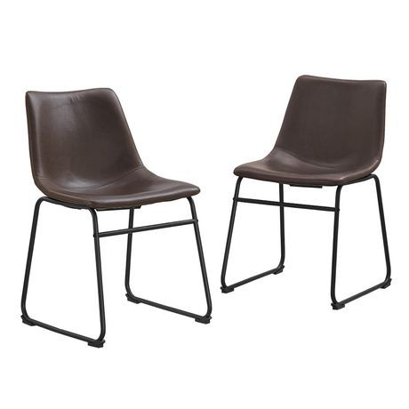 Walker Edison Brown Faux Leather Dining Kitchen Chairs Walmart Canada