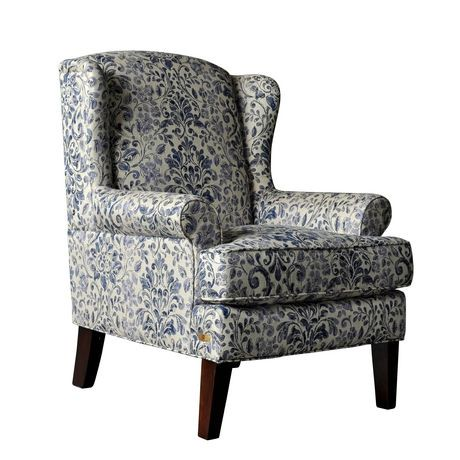Avery Accent Chair Blue Floral Fabric Walmart Canada