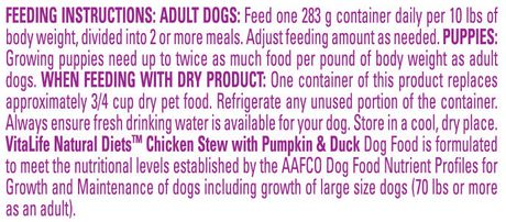 VitaLife Natural Diets Dog Food Chicken Stew with Pumpkin & Duck - image 4 of 7