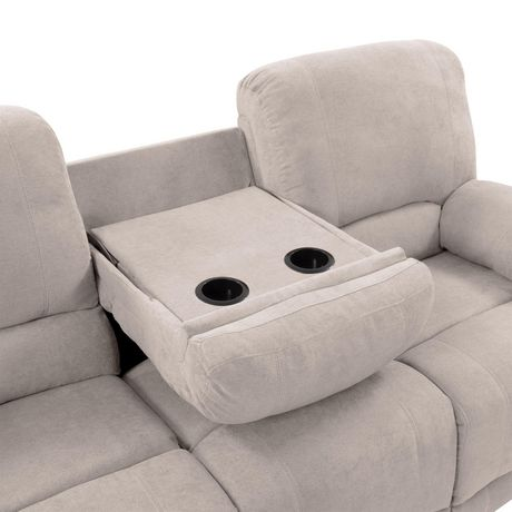 Corliving Plush Reclining Chenille Fabric Sofa With Fold
