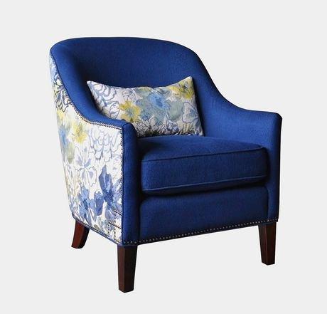 Abhay Accent Chair Blue Floral Print Walmart Canada