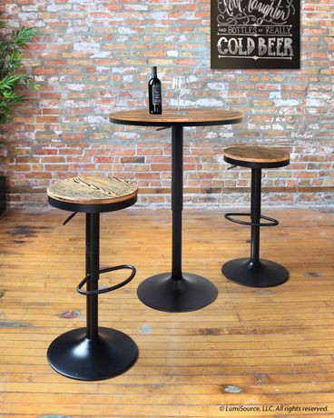 Dakota Industrial Adjustable Barstool By Lumisource Set Of
