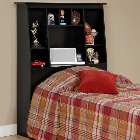 Prepac Twin Tall Slant Back Black Bookcase Headboard