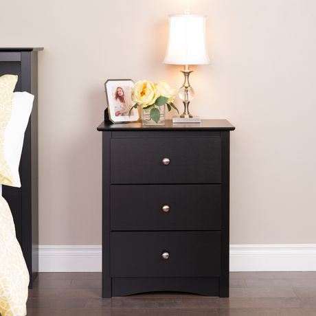 table de chevet haute sonoma 3 tiroirs prepac en fini noir walmart canada. Black Bedroom Furniture Sets. Home Design Ideas
