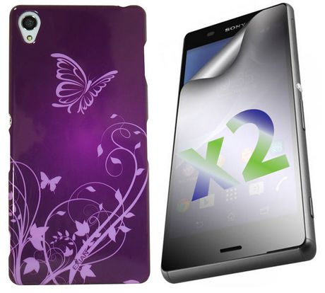 Exian Case for Xperia Z3, Butterflies and Flowers - Purple - image 1 of 2