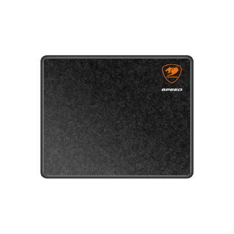 Black gaming mouse pad from Speed II with orange logo in top right corner