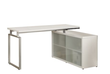 Monarch Specialties White HollowCore L Shaped Desk With Frosted