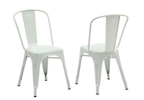 Nice Monarch White Glossy Metal Cafe Chairs