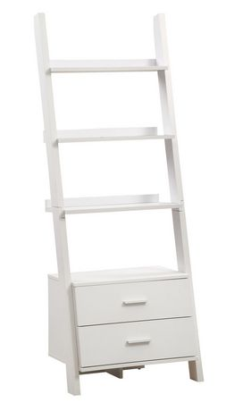 Monarch Specialties Inc White Ladder Bookcase With 2 Storage Drawers