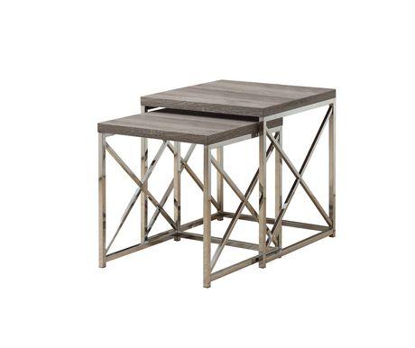 Monarch Specialties 2-Piece Dark Taupe/Chrome Nesting Tables Set ...
