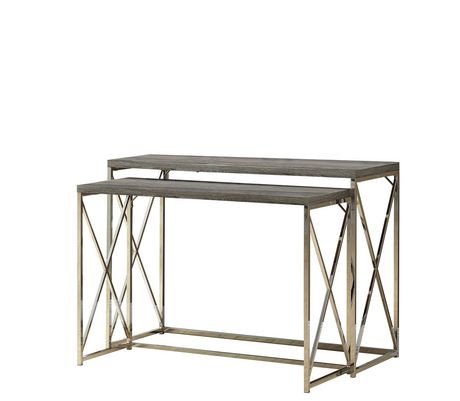 Monarch Specialties 2-Piece Dark Taupe/Chrome Console Table Set ...