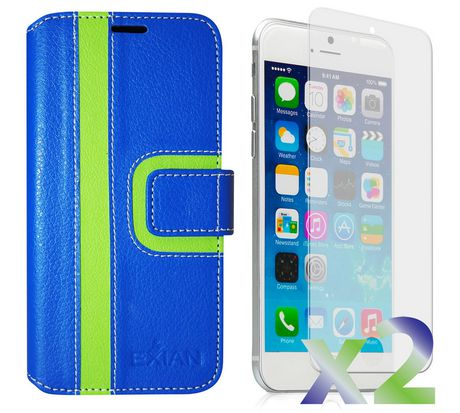 Exian Wallet Case for iPhone 6 Plus, Striped Pattern - Blue and Green - image 1 of 3