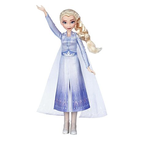 Elsa doll from Disney's Frozen with blond hair wearing blue and silver dress