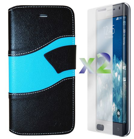 cheap for discount af699 b320a Exian Wallet Case for Samsung Galaxy Note Edge, Wave Pattern - Black and  Blue