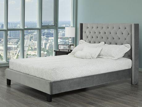 Brassex Inc Jia Tufted Platform Bed King Size Grey