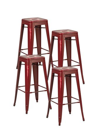 tabouret de bar m talique ancien bristow d 39 osp designs de 30 po en rouge ancien walmart canada. Black Bedroom Furniture Sets. Home Design Ideas