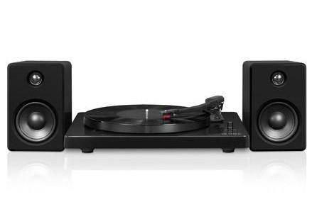 platine tourne disque bluetooth avec haut parleurs satellites de innovative technology en noir. Black Bedroom Furniture Sets. Home Design Ideas
