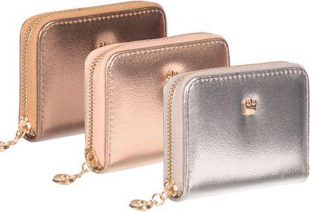 Trois portefeuilles métalliques à glissière avec tirette décorative en or, fabriqués par Nicci