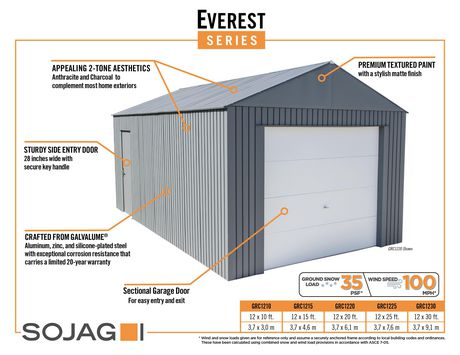 Everest Garage 12 x 30 ft. in Charcoal - image 8 of 9