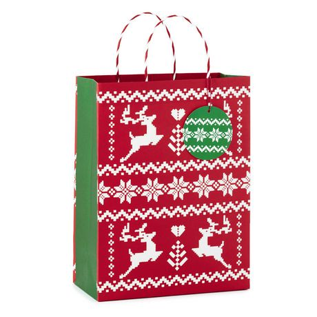 grand sac cadeau de no l image arts de hallmark motif de jacquard avec renne de 13 po. Black Bedroom Furniture Sets. Home Design Ideas