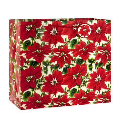 Christmas Gift Bags.Hallmark Image Arts Poinsettias Heavy Duty X Wide Jumbo Christmas Gift Bag
