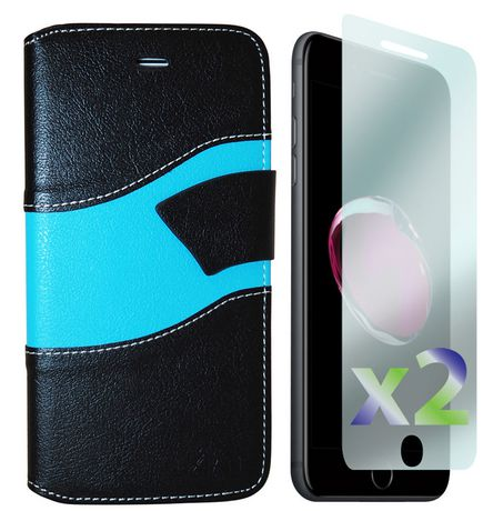 Exian Wallet Case for iPhone 7 Plus in Black Blue - image 1 of 2