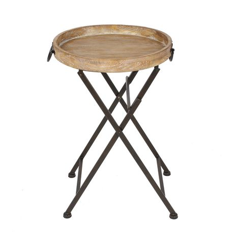 Hometrends wood and metal round folding table - Table pliante chaises integrees ...