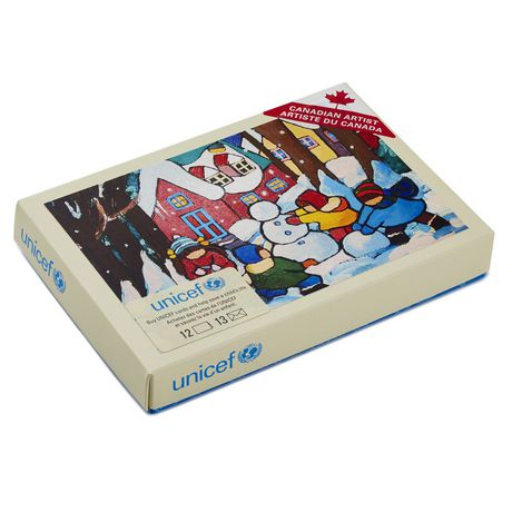 Hallmark UNICEF Children with Snowman French-Language Boxed Christmas Cards - image 1 of 2