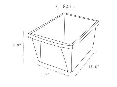 Storex 4 Gallon &15Litres Bac d'entreposage /Bleu (6 unités /paquet) - image 4 de 7