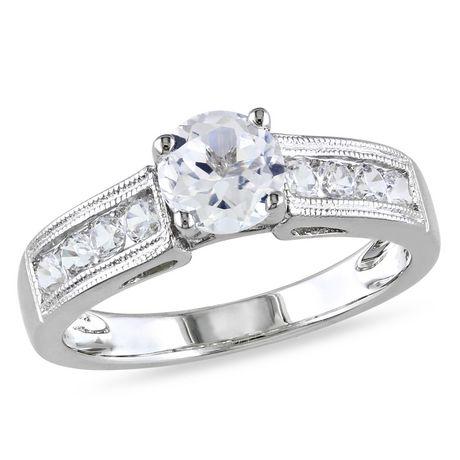 Bague de fiançailles Miabella en saphir blanc synthétique 1.50 carat et argent sterling - image 1 de 1