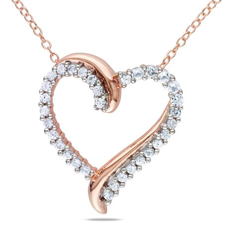 """Miabella 0.75 Carat T.G.W. Created White Sapphire Pink Rhodium Plated Sterling Silver Heart Pendant; 18"""" - image 1 of 1"""