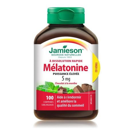 Jamieson Melatonin Fast Dissolving Chocolate Mint Tablets, 5 mg - image 3 of 7