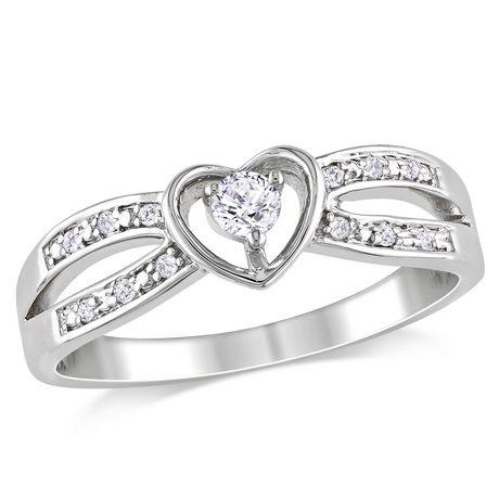 Bague en forme de cœur Miabella avec 0.13 carat de saphir blanc et accent de diamants en argent sterling - image 1 de 1