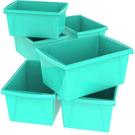 Storex  5.5 Gallon & 21Litres Bac d'entreposage /Turquoise (6 unités /paquet) - image 1 de 3