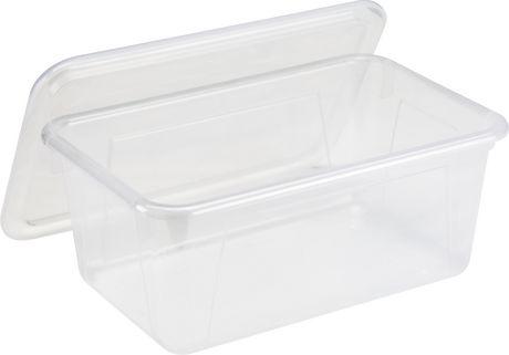 Storex Petite Boîte de Rangement avec couvercle clair, translucide (5 unités / paquet) - image 4 de 5