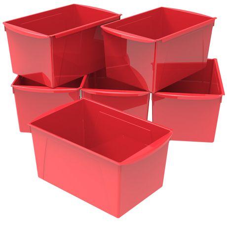 Bac à livres extra large, ensemble de 6, rouge - image 1 de 2