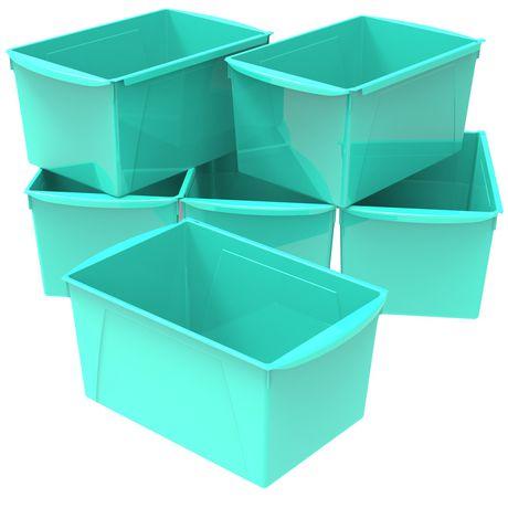 Bac à livres extra large, ensemble de 6, turquoise - image 1 de 2