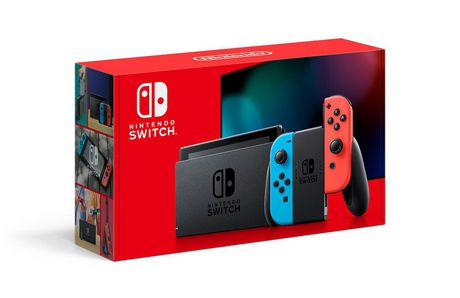 Black Nintendo Switch video game console with neon blue and neon red Joy-Con controller