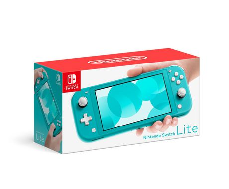 Turquoise Nintendo Switch Lite video game console with screen displaying Nintendo logo