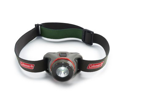Black and red 250-lumens headlamp with adjustable black and red headband from Coleman