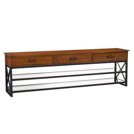 """CorLiving Houston Oak Wood Veneer TV Bench with Glass Shelves for TVs up to 90"""" - image 1 of 9"""