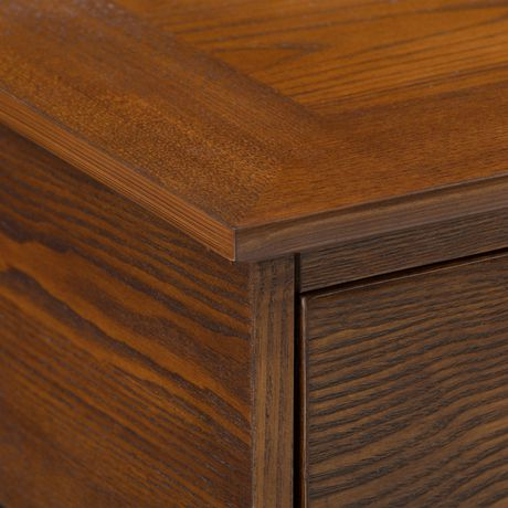 """CorLiving Houston Oak Wood Veneer TV Bench with Glass Shelves for TVs up to 90"""" - image 7 of 9"""