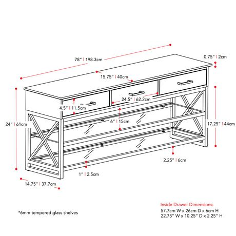 """CorLiving Houston Oak Wood Veneer TV Bench with Glass Shelves for TVs up to 90"""" - image 9 of 9"""