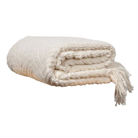 Knit White Zig-Zag Textured Woven Throw Blanket | Walmart ...