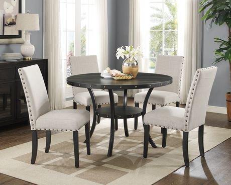 Brassex Inc Indira 5 Piece Dining Set Table 4 Chairs